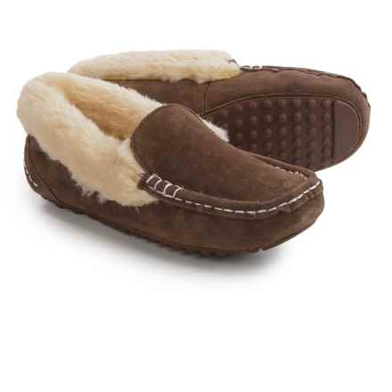 LAMO Footwear Aussie Moccasins - Suede, Faux-Fur Lined (For Women) in Chocolate - Closeouts