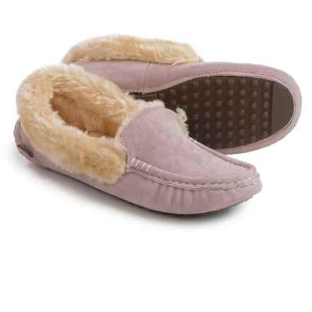 LAMO Footwear Aussie Moccasins - Suede, Faux-Fur Lined (For Women) in Pink - Closeouts