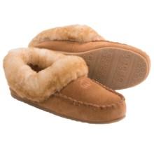 LAMO Footwear Australian Bootie Slippers - Suede, Sheepskin Fleece Lining (For Women) in Chestnut - Closeouts