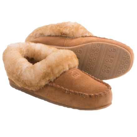 LAMO Footwear Australian Bootie Slippers - Suede, Sheepskin Fleece Lining (For Women) in Chestnut - Closeouts