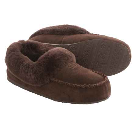 LAMO Footwear Australian Bootie Slippers - Suede, Sheepskin Fleece Lining (For Women) in Chocolate - Closeouts