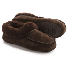 LAMO Footwear Australian Slippers - Suede, Sheepskin Fleece Lining (For Women) in Chocolate - Closeouts