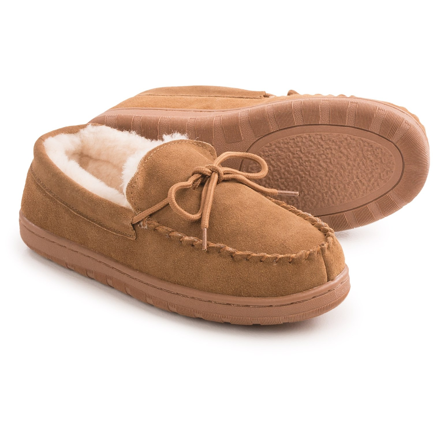 Lamo footwear classic moccasin slippers for women in chestnut