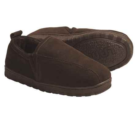 LAMO Footwear CLASSIC ROMEO LEATHER SHEEPSKIN LINED  SLIPPERS (For Men) in Chocolate - Closeouts