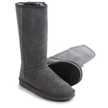 "LAMO Footwear Fleece Snow Boots - 12"", Suede (For Women) in Grey - Closeouts"