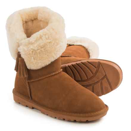 LAMO Footwear Kye Tassel Sheepskin Boots - Suede (For Women) in Chestnut - Closeouts
