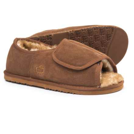 LAMO Footwear Open-Toe Wrap Bootie Slippers - Suede (For Men) in Chestnut - Closeouts