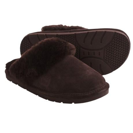 LAMO Footwear Sheepskin Scuff Slippers (For Women) in Chocolate
