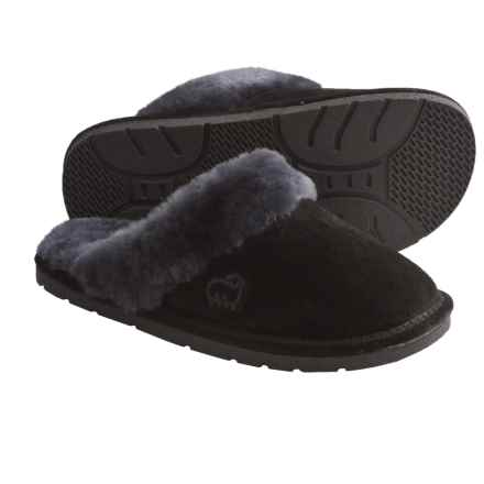 LAMO Footwear Sheepskin Scuff Slippers - Suede (For Women) in Black - Closeouts