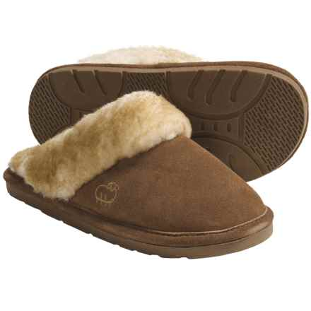 LAMO Footwear Sheepskin Scuff Slippers - Suede (For Women) in Chestnut - Closeouts
