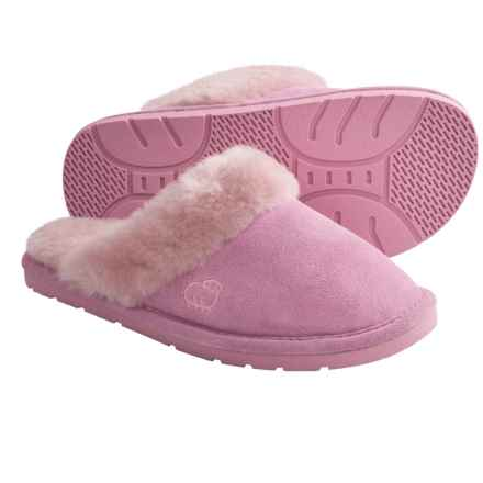 LAMO Footwear Sheepskin Scuff Slippers - Suede (For Women) in Pink - Closeouts