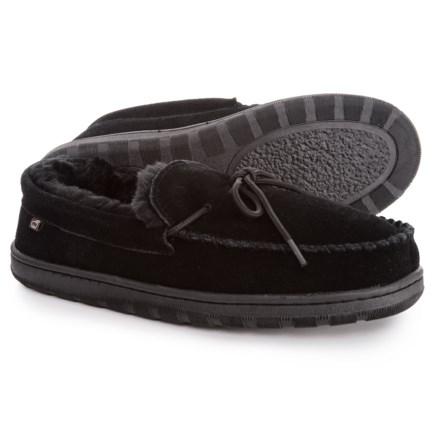 950ae68732feb LAMO Footwear Suede Moccasin Slippers - Faux-Fur Lined (For Men) in Black