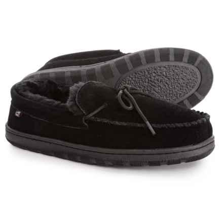 4aae019b9 LAMO Footwear Suede Moccasin Slippers - Faux-Fur Lined (For Men) in Black
