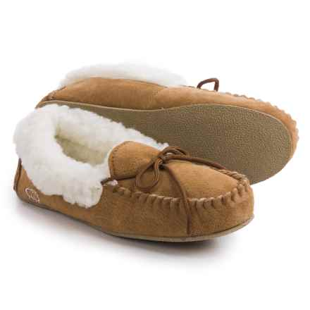 LAMO Footwear Suede Moccasins - Merino Wool Lined (For Little and Big Girls) in Chestnut - Closeouts