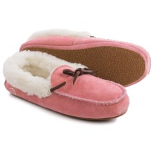 LAMO Footwear Suede Moccasins - Merino Wool Lined (For Little and Big Girls) in Pink - Closeouts