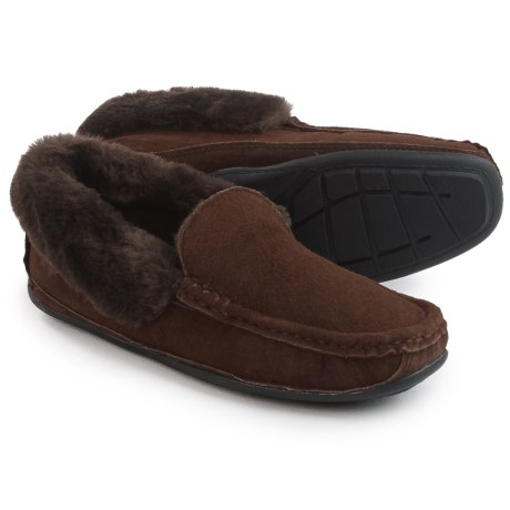 LAMO Footwear Tremont Moccasin Slippers - Suede (For Men) in Chocolate