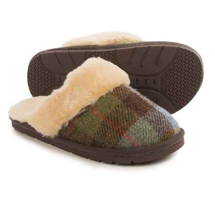 LAMO Footwear Wool Tweed Scuff Slippers (For Women) in Brown/Denim Plaid - Closeouts