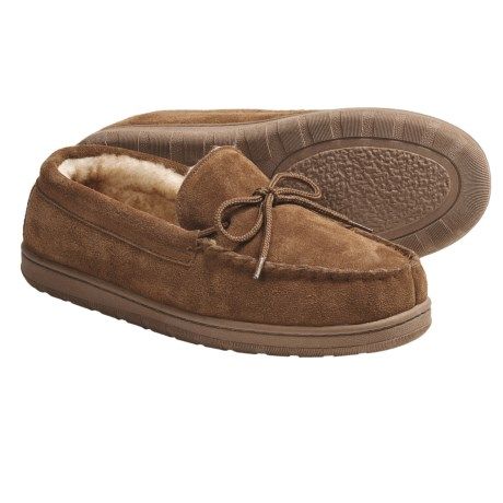Lamo Moccasin Slippers - Suede, Wool-Lined (For Men) in Chestnut
