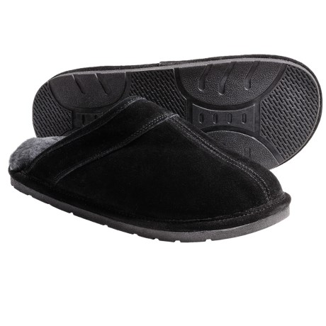 Lamo Scuff Slippers - Suede, Sheepskin-Lined (For Men) in Black