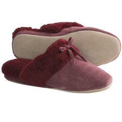 LAMO Victoria Slide Slippers - Sheepskin, Suede (For Women) in Burgundy
