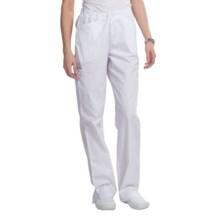 Landau Lexi Cargo Scrub Pants - Slim Fit (For Women) in White Twill - Closeouts