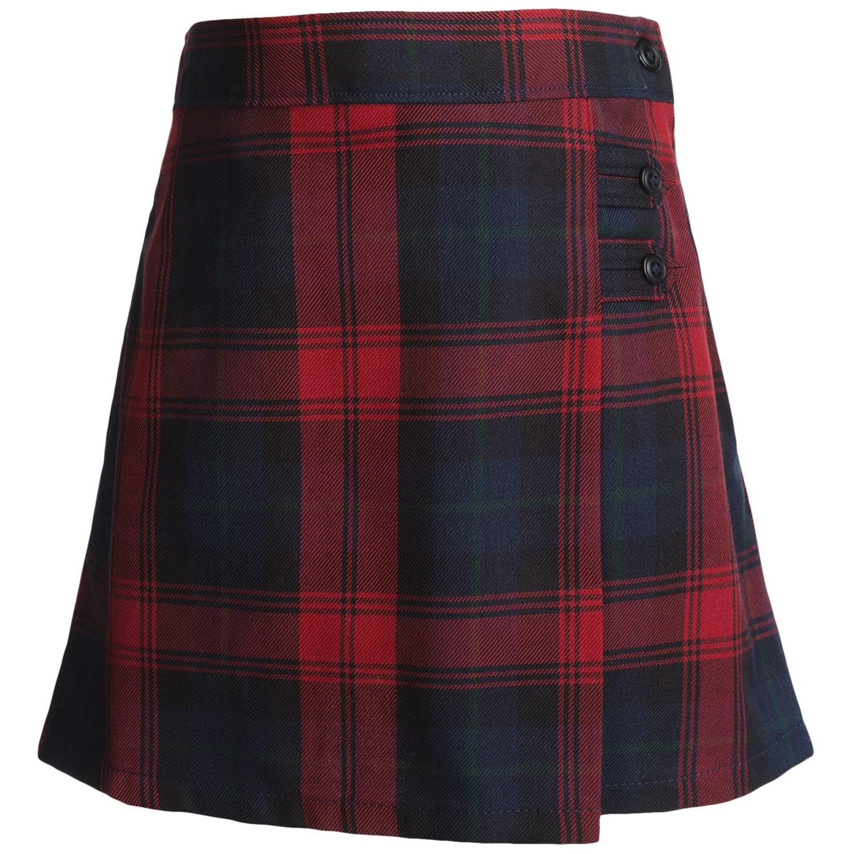 lands end a line plaid skirt knee length for