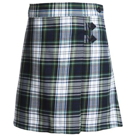 Lands' End A-Line Plaid Uniform Skirt - Knee Length (For Little Girls) in White Plaid