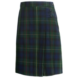 Lands' End A-Line Plaid Uniform Skirt - Knee Length (For Youth Girls) in Hunter/Classic Navy Plaid