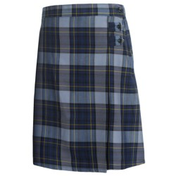 Lands' End A-Line Uniform Plaid Uniform Skirt - Knee Length (For Youth Girls) in Hunter/Classic Navy Plaid
