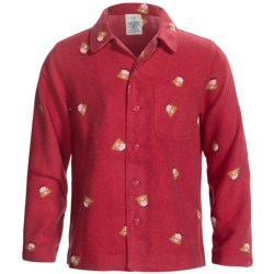 Lands' End Brushed Flannel Pajama Shirt - Long Sleeve (For Boys) in Rich Red Print