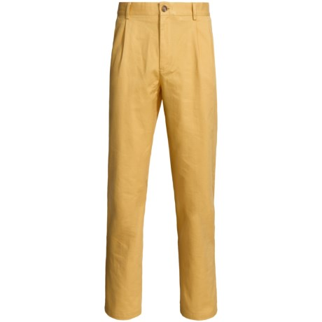 Lands' End Cotton Chino Pants - Traditional Fit, Pleated (For Men) in Gold Dust