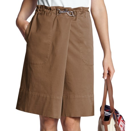 Lands' End Cotton Twill Skirt - Clip Waist (For Women) in French Walnut