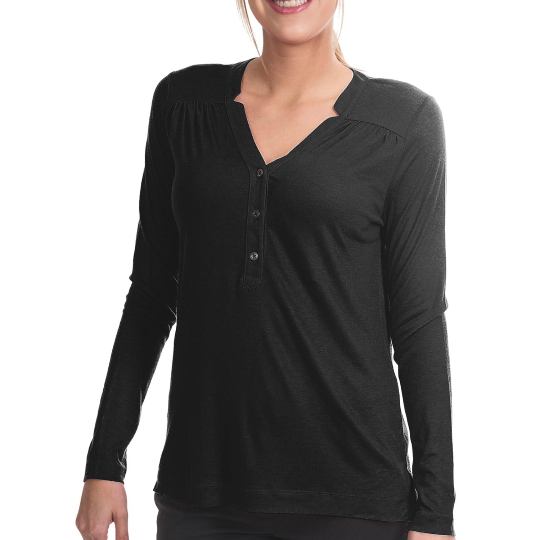 Lands end drape notch henley shirt long sleeve for women for Black long sleeve henley shirt