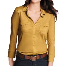 Lands' End Drapey Knit Button Front Shirt - 3/4 Sleeve (For Women) in Dijon - Closeouts