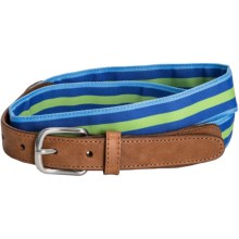 Lands' End Grosgrain Tab Belt (For Women) in Island Lime Stripe - Closeouts