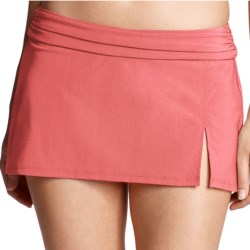 Lands' End Lela Beach Mini Skirt Swim Bottoms - Built-In Briefs (For Women) in Peach Blossom
