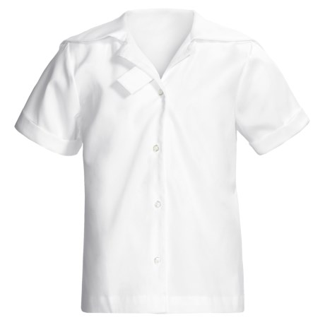 Lands' End Middy Uniform Blouse - Sailor Collar, Short Sleeve (For Women) in White