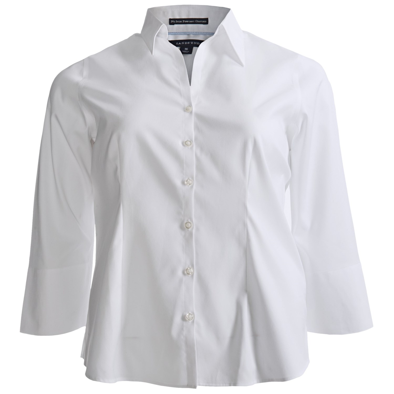 Lands end no iron pinpoint shirt split neck 3 4 sleeve for No iron white shirt womens