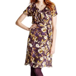 Lands' End Printed Georgette Dress - Short Sleeve (For Women) in Aubergine Plum Print