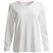 Lands' End Shaped 1x1 T-Shirt - V-Neck, Long Sleeve (For Women) in White - Closeouts