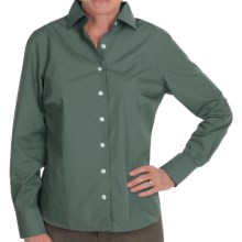 Lands' End Wrinkle-Free Broadcloth Shirt - Long Sleeve (For Petite Women) in Aegean Green - Closeouts