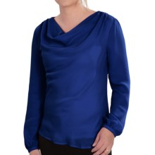 Lands' End Georgette Drape Neck Blouse - Long Sleeve (For Women) in Vibrant Lapis - Closeouts