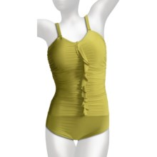 Lands' End Lela One-Piece Swimsuit - Built-In Bra, Removable Straps (For Plus Size Women) in Chartreuse - Closeouts