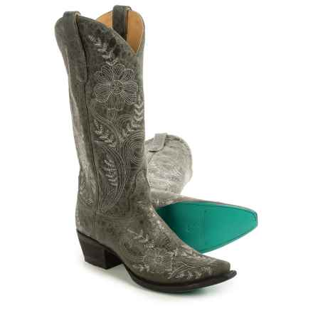 """Lane Boots Ashlee Lace Cowboy Boots - 13"""", Snip Toe (For Women) in Grey/White - Closeouts"""