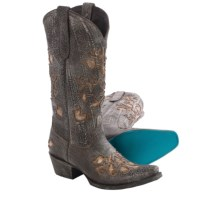 "Lane Boots Cabernet Cowboy Boots - 13"", Snip Toe (For Women) in Distressed Chocolate Brown - Closeouts"