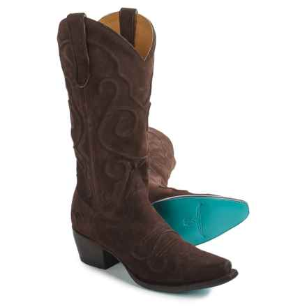 Lane Boots Embossed Applique Cowboy Boots - Snip Toe (For Women) in Dark Brown - Closeouts