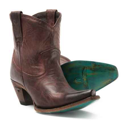 Lane Boots Julia Shortie Cowboy Boots - Snip Toe (For Women) in Wine - Closeouts
