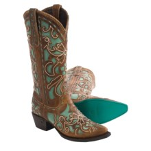 "Lane Boots Robin Cowboy Boots - Snip Toe, 13"" (For Women) in Caramel Tan/Turquoise - Closeouts"
