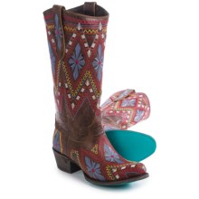 "Lane Boots Sunshine Cowboy Boots - 13"", Roper Toe (For Women) in Distressed Brown - Closeouts"
