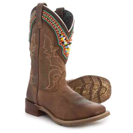 Laredo Beaded Collar Western Boots - Distressed Leather (For Women) in Brown Distressed - Closeouts